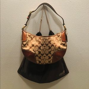Coach Brown Jacquard Hobo Purse Leather Strap